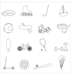 Summer sports and equipment outline icon set eps10 vector