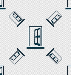 Door enter or exit icon sign seamless pattern with vector