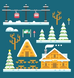 Winter ski resort flat design vector