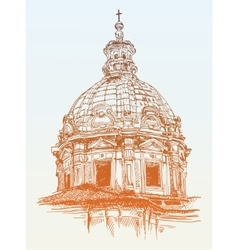 Sketch drawing of old basilica from rome italy vector