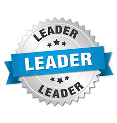 Leader 3d silver badge with blue ribbon vector