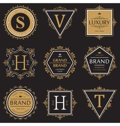 Set of ornate brand or product banner and logo vector