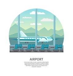 Airport Interior Orthogonal Design vector image