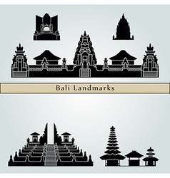 Bali landmarks and monuments vector