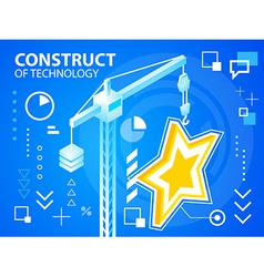 Bright construct crane and star on blue back vector