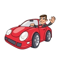 Businessman driving car 4 vector image