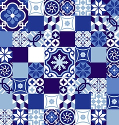 Ceramic mosaic background blue moroccan style vector image vector image