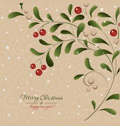Christmas card with mistletoe plant vector