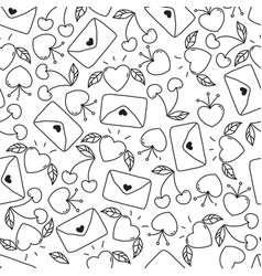 doodle seamless valentines day pattern isolated vector image vector image