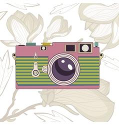 Elegant vintage camera on floral background vector image vector image