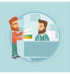 Employee receiving lot of paperwork vector image