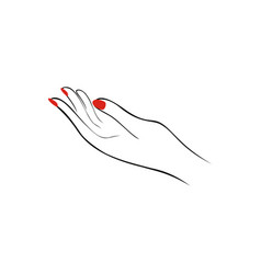 Female hand with red nails manicure fashion vector