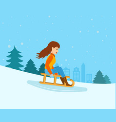 girl rolled down from mountain slope on a sled vector image