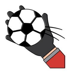 Hand holding football ball sport vector