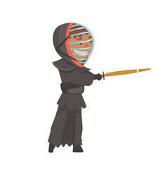 Kendo fighter man with shinai cartoon vector