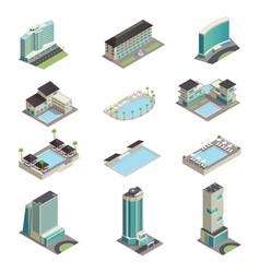 Luxury hotel buildings isometric icons vector