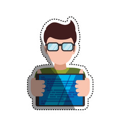 man holding tablet glasses vector image vector image