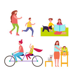 mothers and children collection of vector image