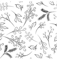 New year christmas xmas branch berry leave pattern vector