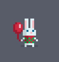 pixel art cute rabbit vector image vector image