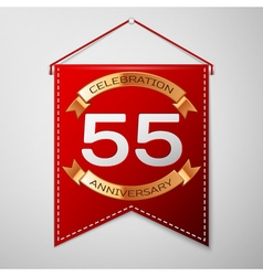 Red pennant with inscription fifty five years vector