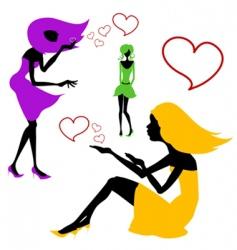 romantic girls vector image vector image