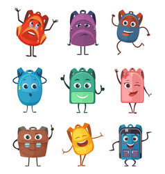 schoolbags characters with different emotions vector image