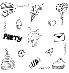 Set birthday doodle on white backgrounds vector