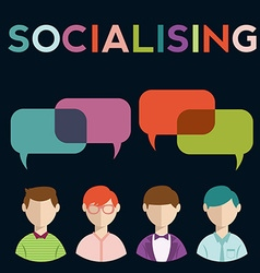 Social media speech bubbles with group of people vector