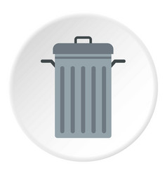 Steel bin icon circle vector