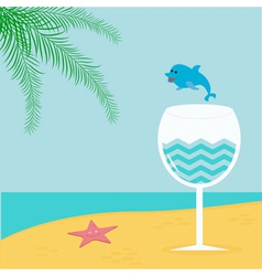 Summer beach background with palm star cocktail vector image vector image