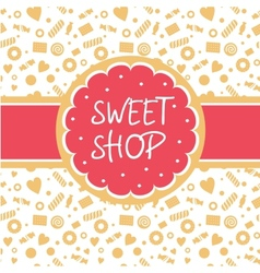 Sweet shop logo with the image of cake vector