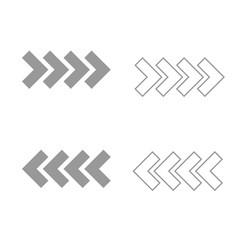 traffic arrows grey set icon vector image vector image