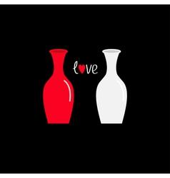 Vase icon set Ceramic Pottery Glass Flower Love vector image