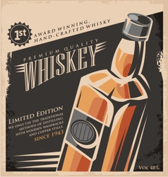 Whiskey vintage poster design template vector image