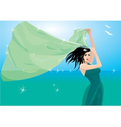 Woman with shawl on seaside vector