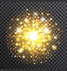 yellow sunburst on transparent background vector image vector image