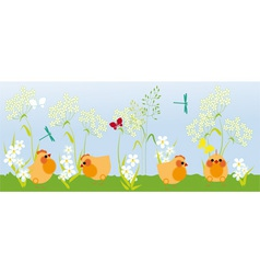 chicks in the grass vector image