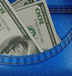 In the front pocket of denim trousers have dollars vector