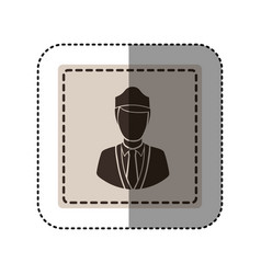 Sticker monochrome square with flight attendant vector