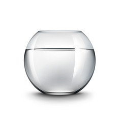 Black transparent shiny glass fishbowl aquarium vector