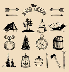Camping sketched elements outdoor vector