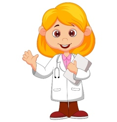 Cute little female doctor cartoon waving hand vector