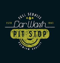 Car wash and pit stop emblem vector