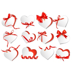 Set of beautiful gift cards with red gift bows and vector image