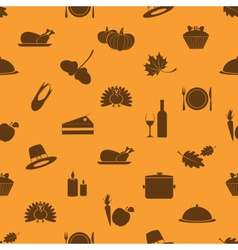 Thanksgiving icons set seamless autumn pattern vector
