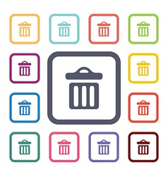 Trash bin flat icons set vector