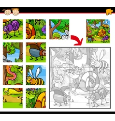 Cartoon insects jigsaw puzzle game vector