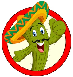 Cartoon mexican cactus character give thumb up vector