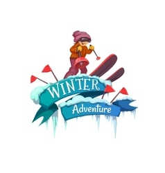 Winter adventure banner with ribbon and ski vector
